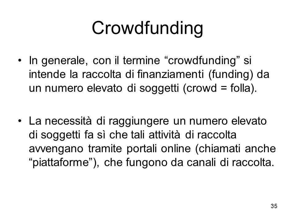 """35 Crowdfunding In generale, con il termine """"crowdfunding"""" si intende la raccolta di finanziamenti (funding) da un numero elevato di soggetti (crowd ="""