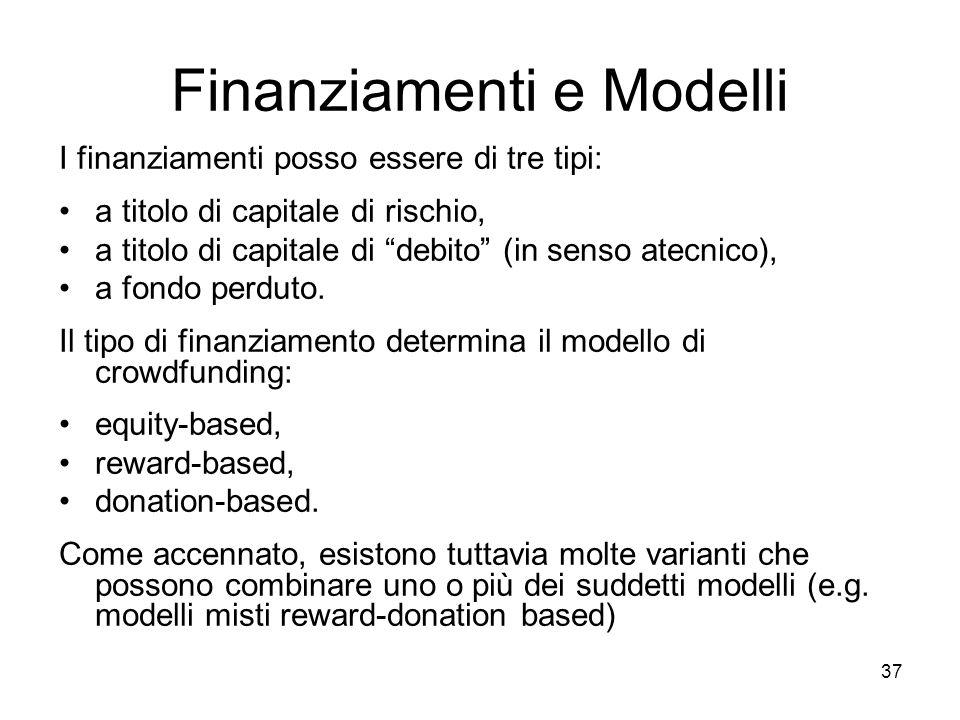 """37 Finanziamenti e Modelli I finanziamenti posso essere di tre tipi: a titolo di capitale di rischio, a titolo di capitale di """"debito"""" (in senso atecn"""