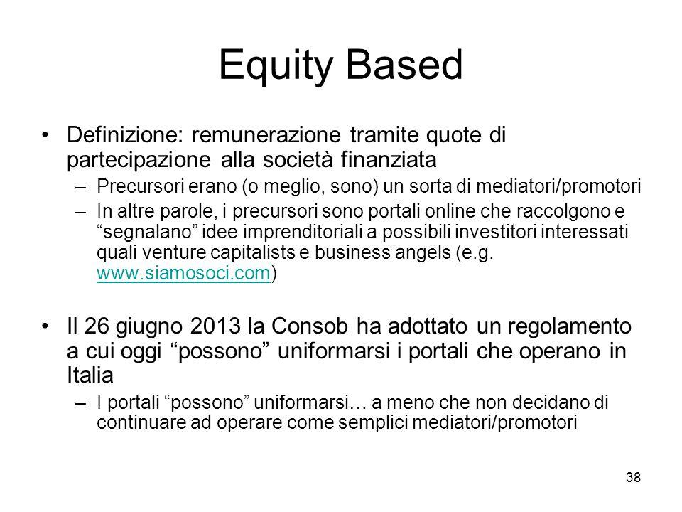 38 Equity Based Definizione: remunerazione tramite quote di partecipazione alla società finanziata –Precursori erano (o meglio, sono) un sorta di medi