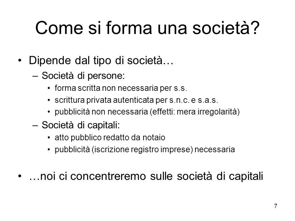 7 Come si forma una società? Dipende dal tipo di società… –Società di persone: forma scritta non necessaria per s.s. scrittura privata autenticata per