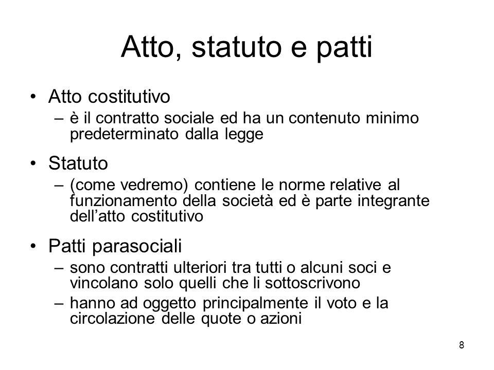 8 Atto, statuto e patti Atto costitutivo –è il contratto sociale ed ha un contenuto minimo predeterminato dalla legge Statuto –(come vedremo) contiene