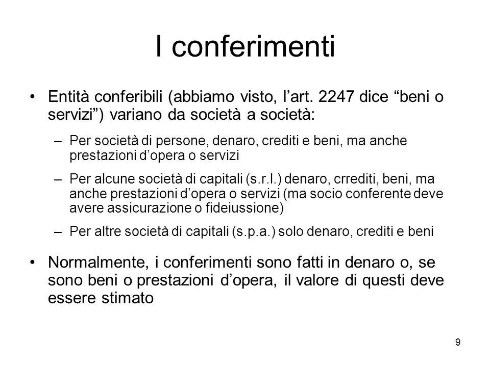 """9 I conferimenti Entità conferibili (abbiamo visto, l'art. 2247 dice """"beni o servizi"""") variano da società a società: –Per società di persone, denaro,"""