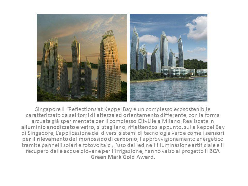 """Singapore il """"Reflections at Keppel Bay è un complesso ecosostenibile caratterizzato da sei torri di altezza ed orientamento differente, con la forma"""