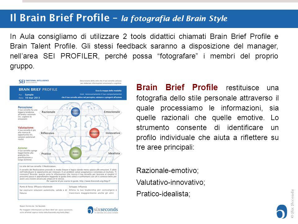 © Six Seconds Brain Brief Profile restituisce una fotografia dello stile personale attraverso il quale processiamo le informazioni, sia quelle raziona