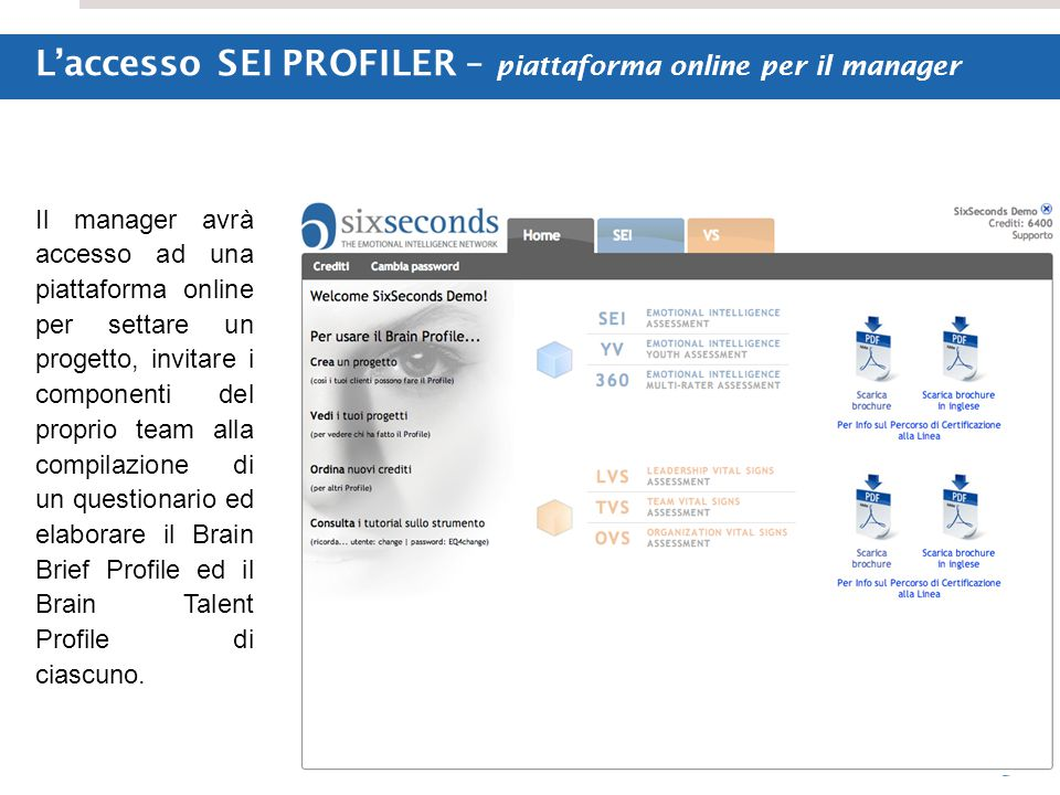 © Six Seconds L'accesso SEI PROFILER – piattaforma online per il manager Il manager avrà accesso ad una piattaforma online per settare un progetto, in