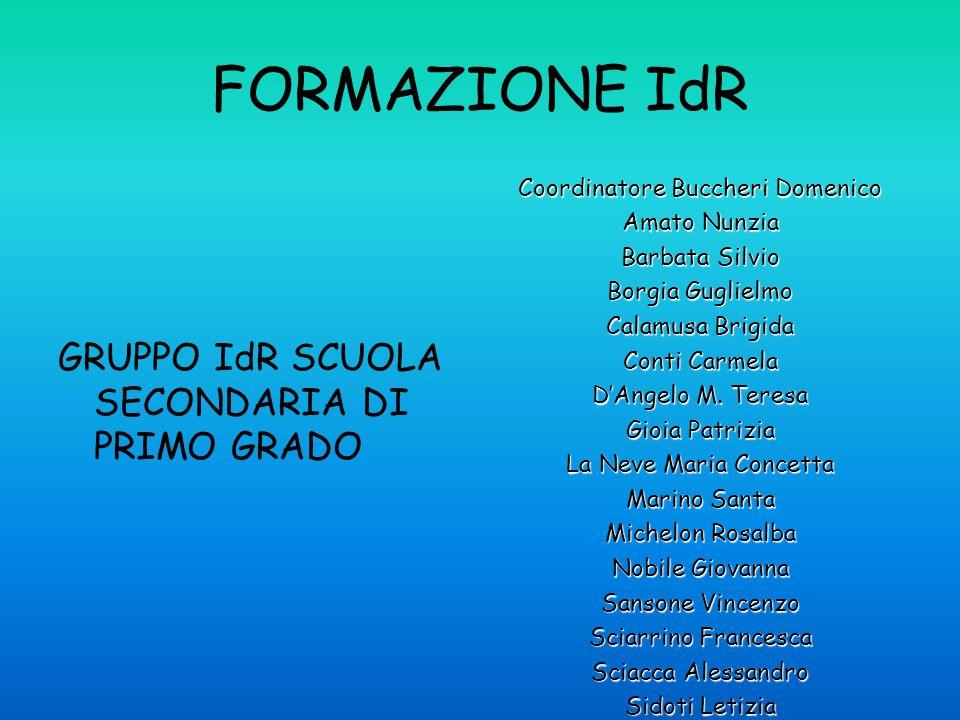 FORMAZIONE IdR GRUPPO IdR SCUOLA SECONDARIA DI PRIMO GRADO Coordinatore Buccheri Domenico Amato Nunzia Barbata Silvio Borgia Guglielmo Calamusa Brigida Conti Carmela D'Angelo M.