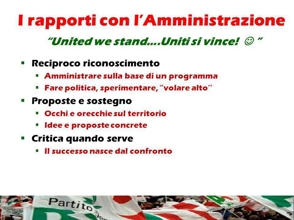 I rapporti con l'Amministrazione United we stand….Uniti si vince.