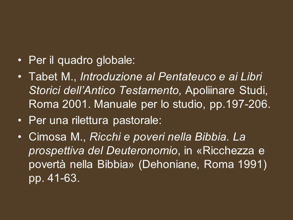 Per il quadro globale: Tabet M., Introduzione al Pentateuco e ai Libri Storici dell'Antico Testamento, Apoliinare Studi, Roma 2001.