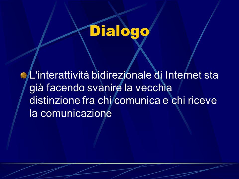 Dialogo L'interattività bidirezionale di Internet sta già facendo svanire la vecchia distinzione fra chi comunica e chi riceve la comunicazione
