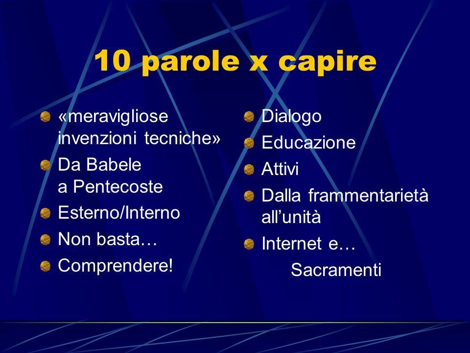 10 parole x capire «meravigliose invenzioni tecniche» Da Babele a Pentecoste Esterno/Interno Non basta… Comprendere! Dialogo Educazione Attivi Dalla f