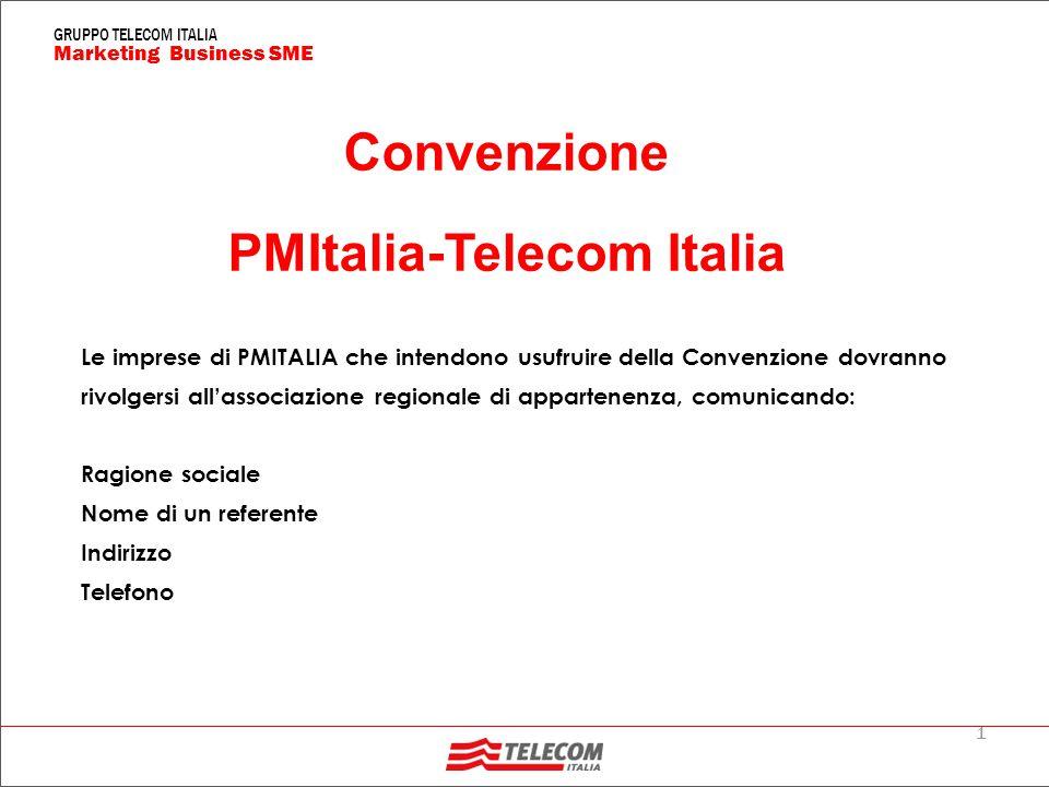 1 Marketing Business SME GRUPPO TELECOM ITALIA Convenzione PMItalia-Telecom Italia Le imprese di PMITALIA che intendono usufruire della Convenzione dovranno rivolgersi all'associazione regionale di appartenenza, comunicando: Ragione sociale Nome di un referente Indirizzo Telefono