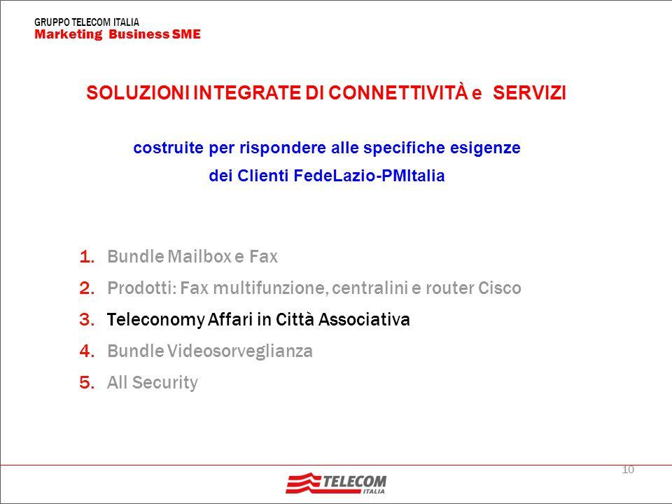 10 Marketing Business SME GRUPPO TELECOM ITALIA 1.Bundle Mailbox e Fax 2.Prodotti: Fax multifunzione, centralini e router Cisco 3.Teleconomy Affari in Città Associativa 4.Bundle Videosorveglianza 5.All Security SOLUZIONI INTEGRATE DI CONNETTIVITÀ e SERVIZI costruite per rispondere alle specifiche esigenze dei Clienti FedeLazio-PMItalia