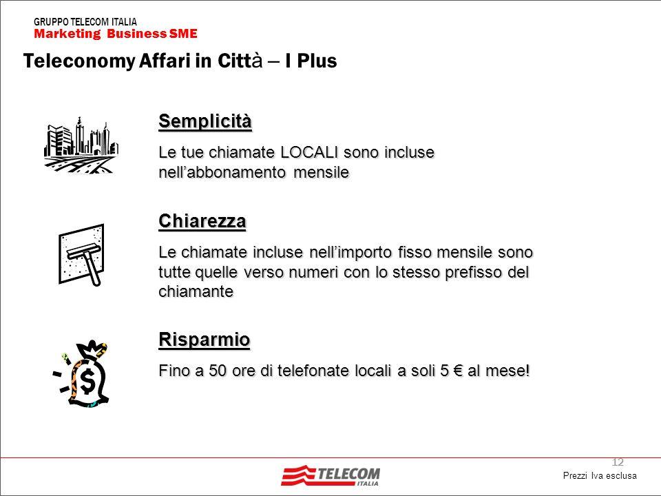 12 Marketing Business SME GRUPPO TELECOM ITALIA Risparmio Fino a 50 ore di telefonate locali a soli 5 € al mese.