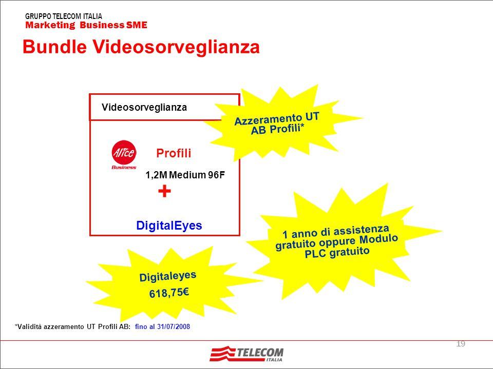 19 Marketing Business SME GRUPPO TELECOM ITALIA Bundle Videosorveglianza DigitalEyes + Profili 1,2M Medium 96F Videosorveglianza 1 anno di assistenza gratuito oppure Modulo PLC gratuito Digitaleyes 618,75€ Azzeramento UT AB Profili* *Validità azzeramento UT Profili AB: fino al 31/07/2008