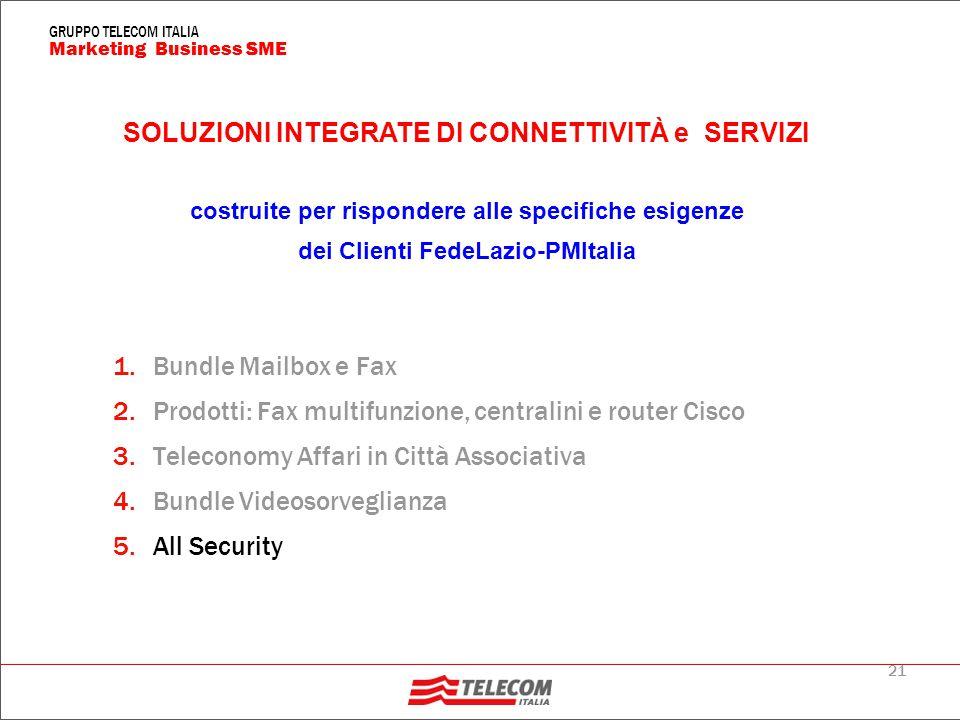 21 Marketing Business SME GRUPPO TELECOM ITALIA 1.Bundle Mailbox e Fax 2.Prodotti: Fax multifunzione, centralini e router Cisco 3.Teleconomy Affari in Città Associativa 4.Bundle Videosorveglianza 5.All Security SOLUZIONI INTEGRATE DI CONNETTIVITÀ e SERVIZI costruite per rispondere alle specifiche esigenze dei Clienti FedeLazio-PMItalia