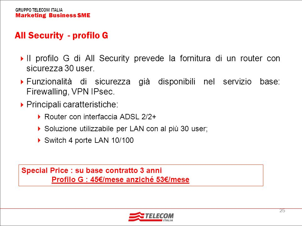 25 Marketing Business SME GRUPPO TELECOM ITALIA All Security - profilo G  Il profilo G di All Security prevede la fornitura di un router con sicurezz