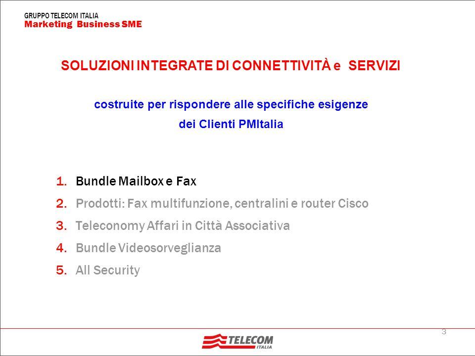3 Marketing Business SME GRUPPO TELECOM ITALIA 1.Bundle Mailbox e Fax 2.Prodotti: Fax multifunzione, centralini e router Cisco 3.Teleconomy Affari in Città Associativa 4.Bundle Videosorveglianza 5.All Security SOLUZIONI INTEGRATE DI CONNETTIVITÀ e SERVIZI costruite per rispondere alle specifiche esigenze dei Clienti PMItalia