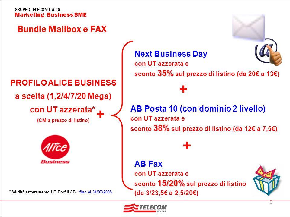 5 Marketing Business SME GRUPPO TELECOM ITALIA PROFILO ALICE BUSINESS a scelta (1,2/4/7/20 Mega) con UT azzerata* (CM a prezzo di listino) Next Business Day con UT azzerata e 35% sconto 35% sul prezzo di listino (da 20€ a 13€) AB Posta 10 (con dominio 2 livello) con UT azzerata e 38% sconto 38% sul prezzo di listino (da 12€ a 7,5€) *Validità azzeramento UT Profili AB: fino al 31/07/2008 Bundle Mailbox e FAX + + AB Fax con UT azzerata e 15/20% sconto 15/20% sul prezzo di listino (da 3/23,5€ a 2,5/20€) +
