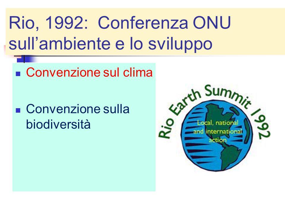 Rio, 1992: Conferenza ONU sull'ambiente e lo sviluppo Convenzione sul clima Convenzione sulla biodiversità