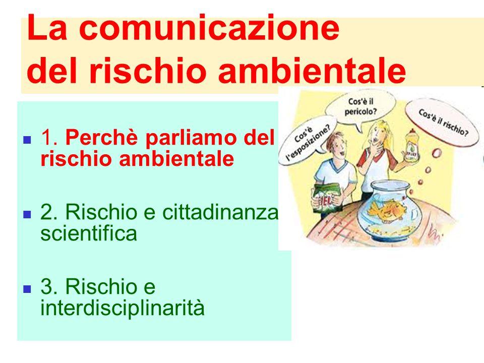 La comunicazione del rischio ambientale 1. Perchè parliamo del rischio ambientale 2. Rischio e cittadinanza scientifica 3. Rischio e interdisciplinari