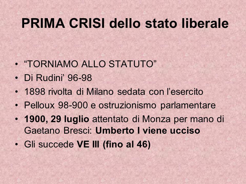 """PRIMA CRISI dello stato liberale """"TORNIAMO ALLO STATUTO"""" Di Rudini' 96-98 1898 rivolta di Milano sedata con l'esercito Pelloux 98-900 e ostruzionismo"""