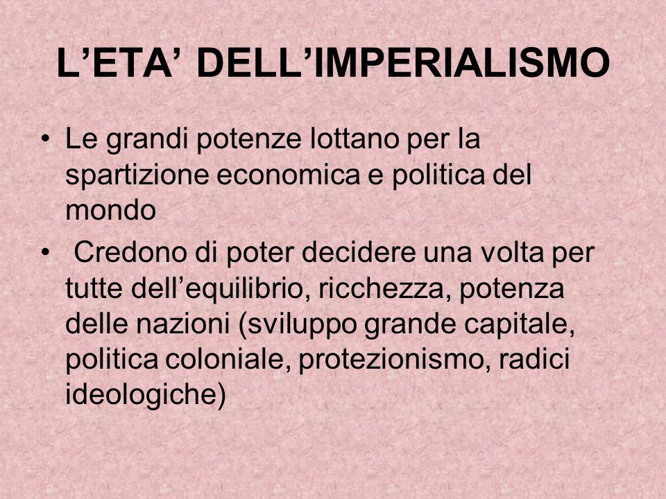 L'ETA' DELL'IMPERIALISMO Le grandi potenze lottano per la spartizione economica e politica del mondo Credono di poter decidere una volta per tutte del
