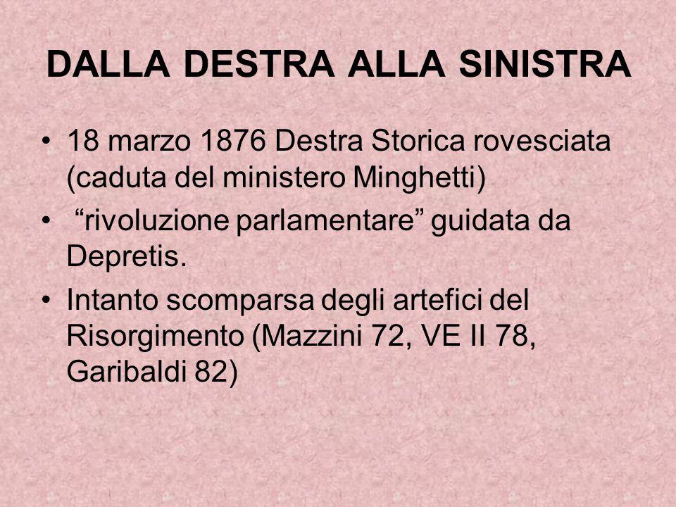 """DALLA DESTRA ALLA SINISTRA 18 marzo 1876 Destra Storica rovesciata (caduta del ministero Minghetti) """"rivoluzione parlamentare"""" guidata da Depretis. In"""