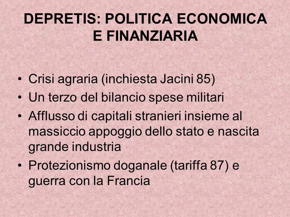 DEPRETIS: POLITICA ECONOMICA E FINANZIARIA Crisi agraria (inchiesta Jacini 85) Un terzo del bilancio spese militari Afflusso di capitali stranieri ins