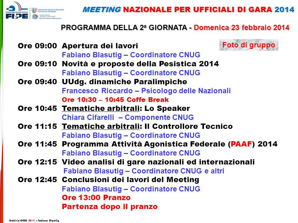 Ore 09:00 Apertura dei lavori Fabiano Blasutig – Coordinatore CNUG Ore 09:10 Novità e proposte della Pesistica 2014 Fabiano Blasutig – Coordinatore CNUG Ore 09:40 UUdg.