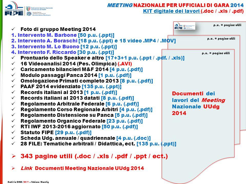 Documenti dei lavori del Meeting Nazionale UUdg 2014 p.u.