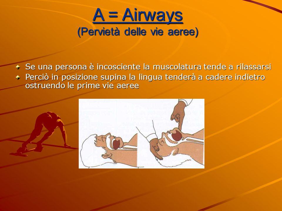 A = Airways (Pervietà delle vie aeree) Se una persona è incosciente la muscolatura tende a rilassarsi Perciò in posizione supina la lingua tenderà a c