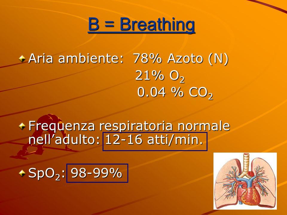 Aria ambiente: 78% Azoto (N) 21% O 2 21% O 2 0.04 % CO 2 0.04 % CO 2 Frequenza respiratoria normale nell'adulto: 12-16 atti/min. SpO 2 : 98-99% B = Br