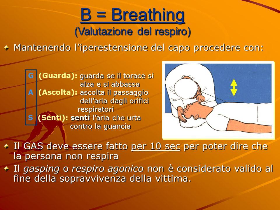 B = Breathing (Valutazione del respiro) Mantenendo l'iperestensione del capo procedere con: Il GAS deve essere fatto per 10 sec per poter dire che la