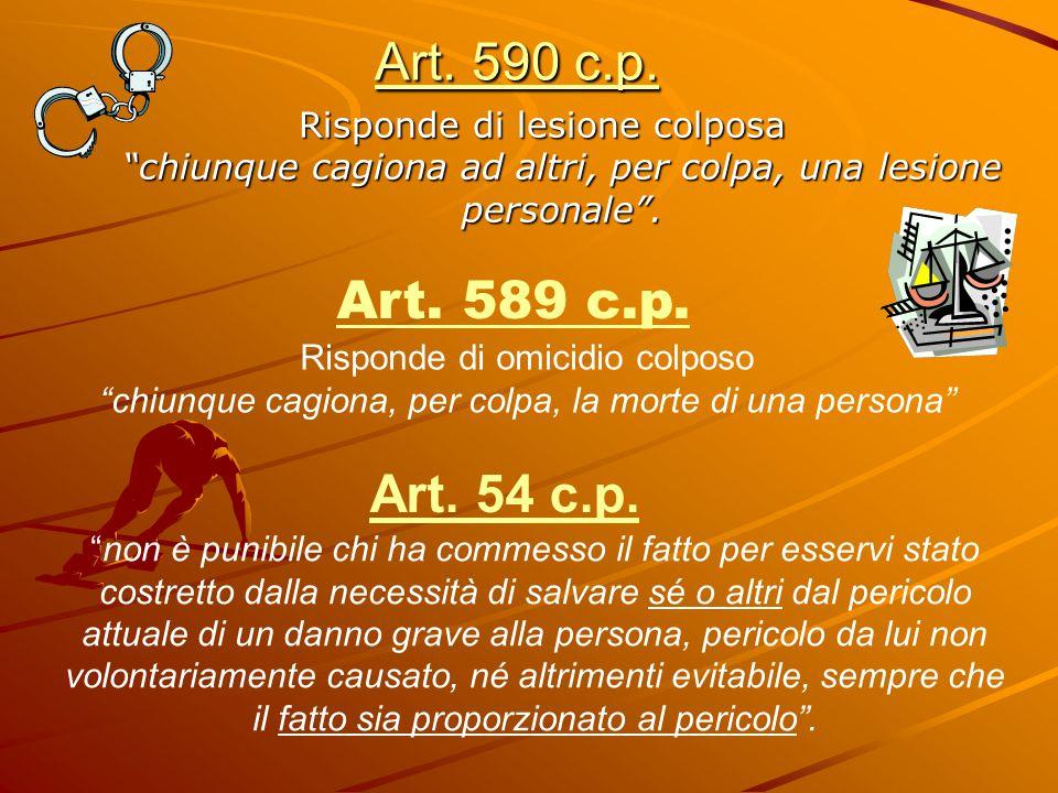 """Art. 590 c.p. Risponde di lesione colposa """"chiunque cagiona ad altri, per colpa, una lesione personale"""". Art. 589 c.p. Risponde di omicidio colposo """"c"""