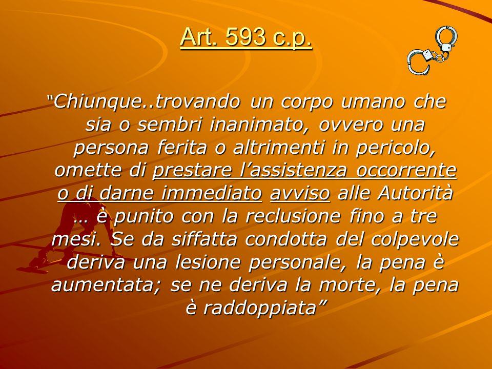 """Art. 593 c.p. """" Chiunque..trovando un corpo umano che sia o sembri inanimato, ovvero una persona ferita o altrimenti in pericolo, omette di prestare l"""