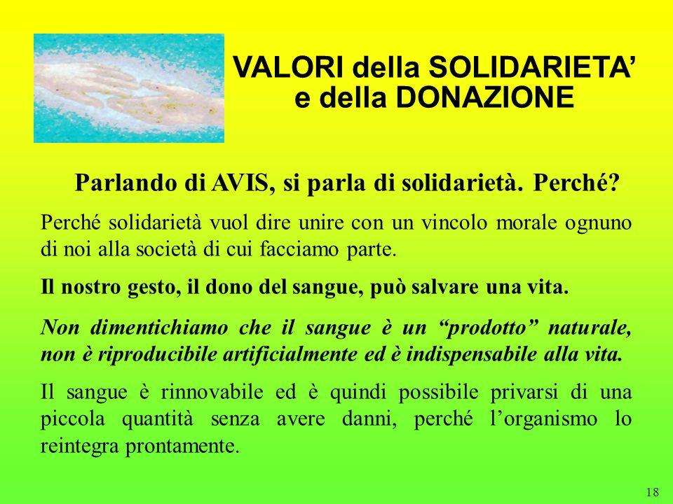 18 VALORI della SOLIDARIETA' e della DONAZIONE Parlando di AVIS, si parla di solidarietà.