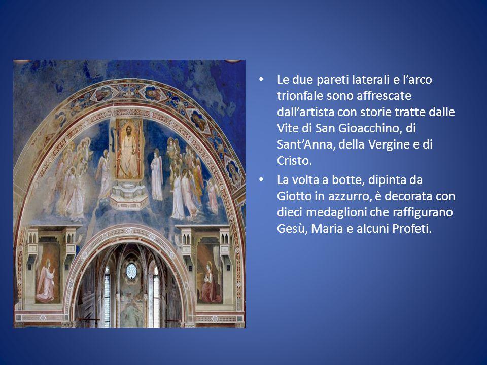La volta a botte, dipinta da Giotto in azzurro, è decorata con dieci medaglioni che raffigurano Gesù, Maria e alcuni Profeti. Le due pareti laterali e