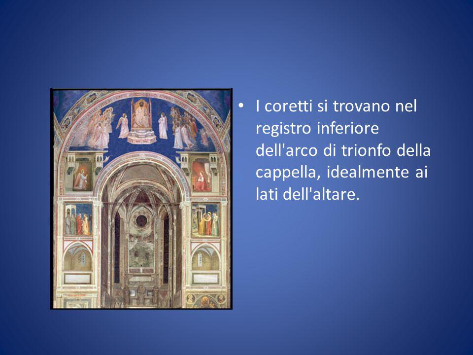 I coretti si trovano nel registro inferiore dell'arco di trionfo della cappella, idealmente ai lati dell'altare.