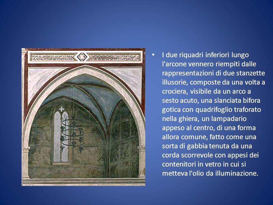 I due riquadri inferiori lungo l'arcone vennero riempiti dalle rappresentazioni di due stanzette illusorie, composte da una volta a crociera, visibile