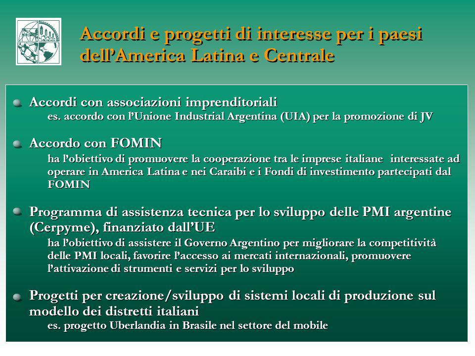 Accordi e progetti di interesse per i paesi dell'America Latina e Centrale Accordi con associazioni imprenditoriali es.