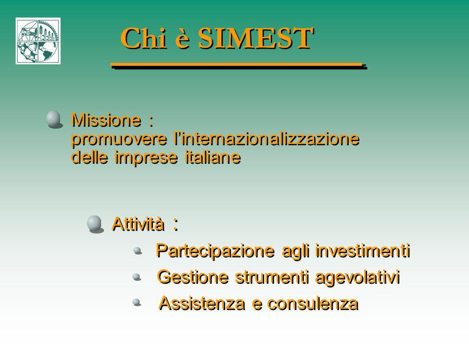Chi è SIMEST Missione : promuovere l'internazionalizzazione delle imprese italiane Missione : promuovere l'internazionalizzazione delle imprese italiane Attività : Partecipazione agli investimenti Gestione strumenti agevolativi Assistenza e consulenza