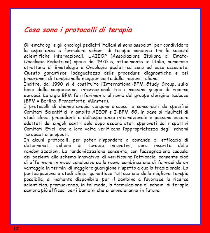 Cosa sono i protocolli di terapia Gli ematologi e gli oncologi pediatri italiani si sono associati per condividere le esperienze e formulare schemi di