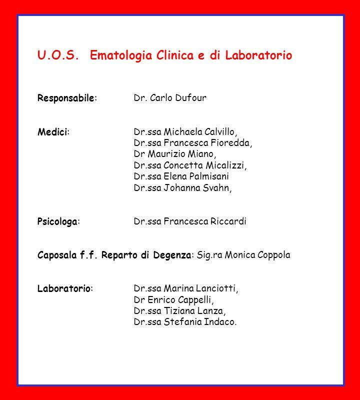 U.O.S. Ematologia Clinica e di Laboratorio Responsabile: Dr. Carlo Dufour Medici: Dr.ssa Michaela Calvillo, Dr.ssa Francesca Fioredda, Dr Maurizio Mia