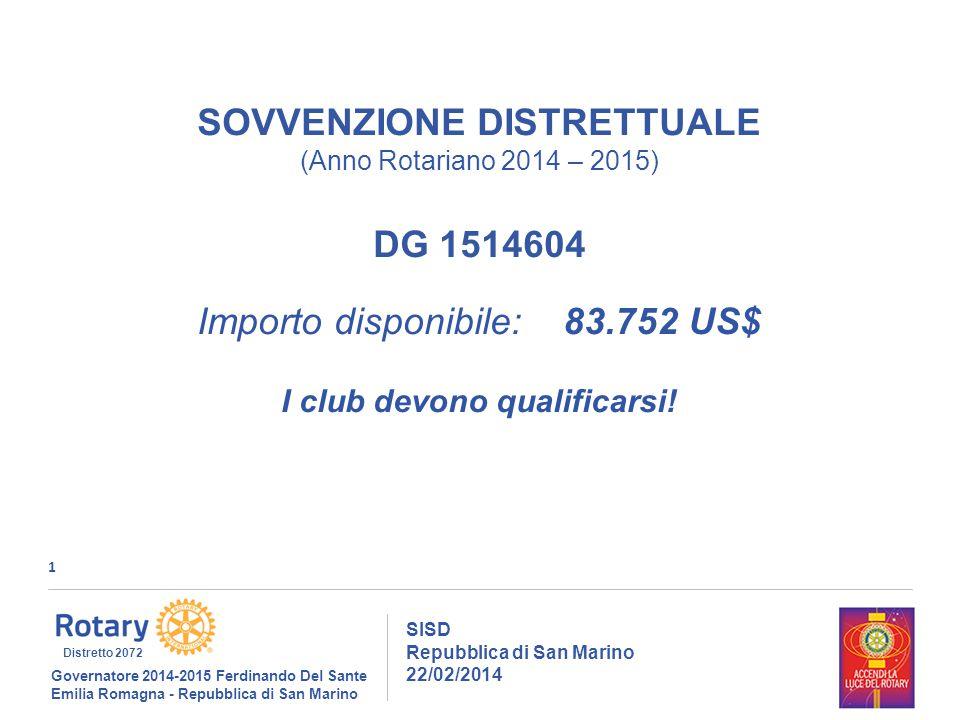 1 SISD Repubblica di San Marino 22/02/2014 Governatore 2014-2015 Ferdinando Del Sante Emilia Romagna - Repubblica di San Marino Distretto 2072 SOVVENZIONE DISTRETTUALE (Anno Rotariano 2014 – 2015) DG 1514604 Importo disponibile: 83.752 US$ I club devono qualificarsi!