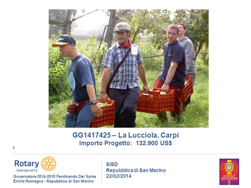 7 SISD Repubblica di San Marino 22/02/2014 Governatore 2014-2015 Ferdinando Del Sante Emilia Romagna - Repubblica di San Marino Distretto 2072 GG1417425 – La Lucciola, Carpi Importo Progetto: 132.900 US$