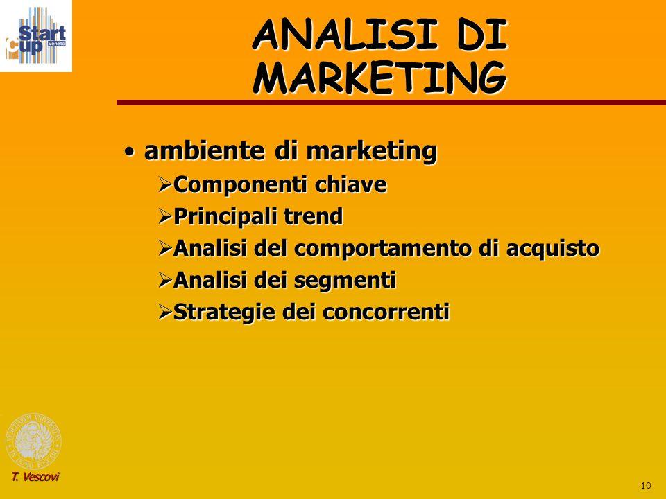 10 T. Vescovi ANALISI DI MARKETING ambiente di marketingambiente di marketing  Componenti chiave  Principali trend  Analisi del comportamento di ac