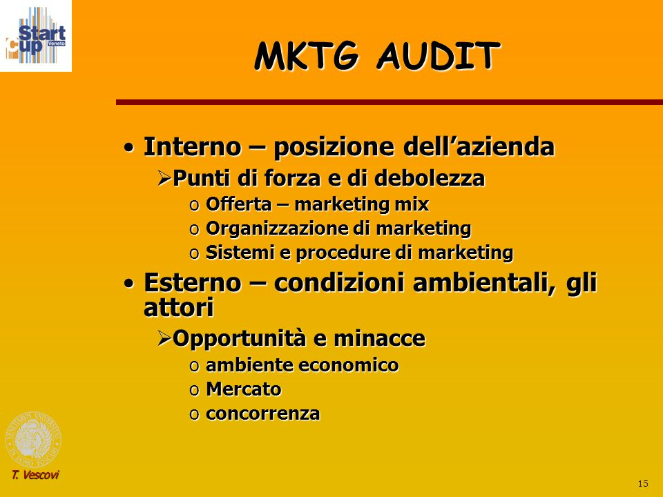 15 T. Vescovi MKTG AUDIT Interno – posizione dell'aziendaInterno – posizione dell'azienda  Punti di forza e di debolezza oOfferta – marketing mix oOr