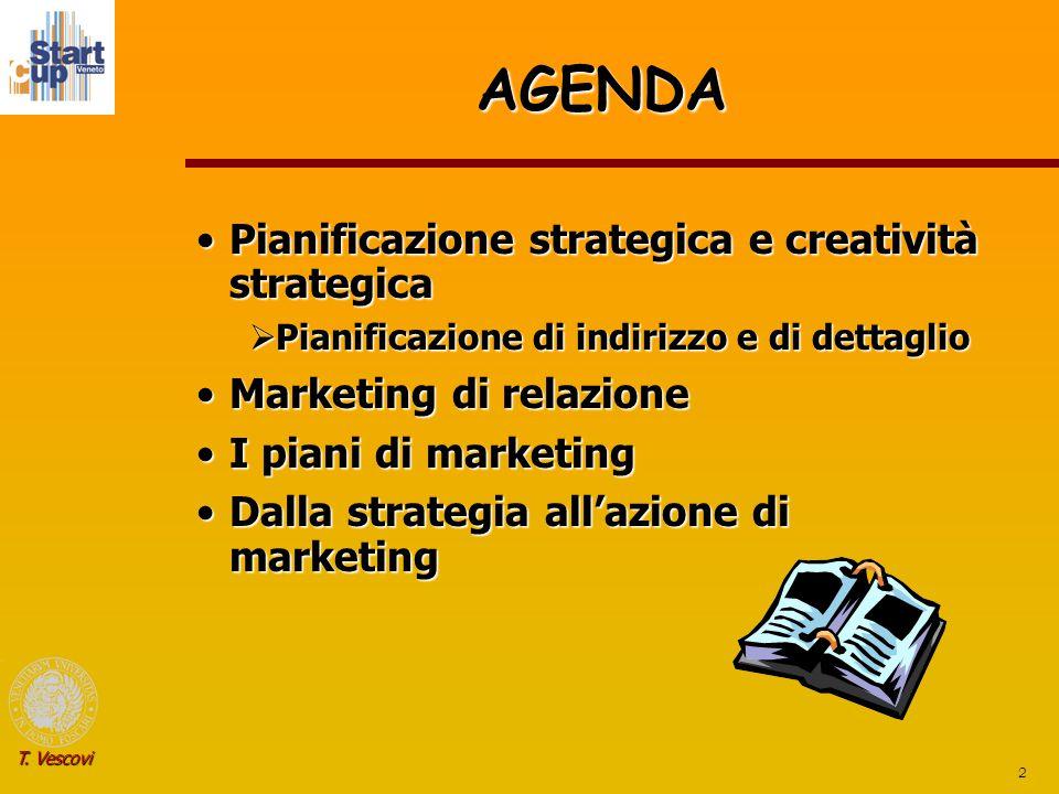2 T. Vescovi AGENDA Pianificazione strategica e creatività strategicaPianificazione strategica e creatività strategica  Pianificazione di indirizzo e
