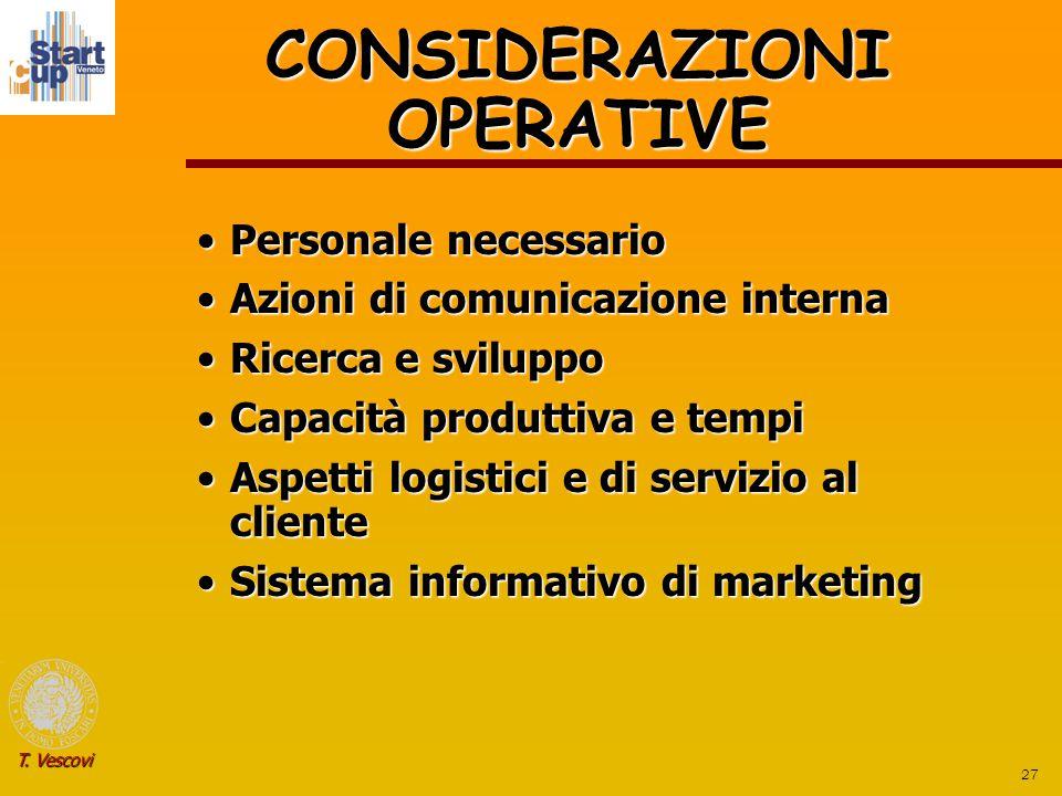 27 T. Vescovi CONSIDERAZIONI OPERATIVE Personale necessarioPersonale necessario Azioni di comunicazione internaAzioni di comunicazione interna Ricerca