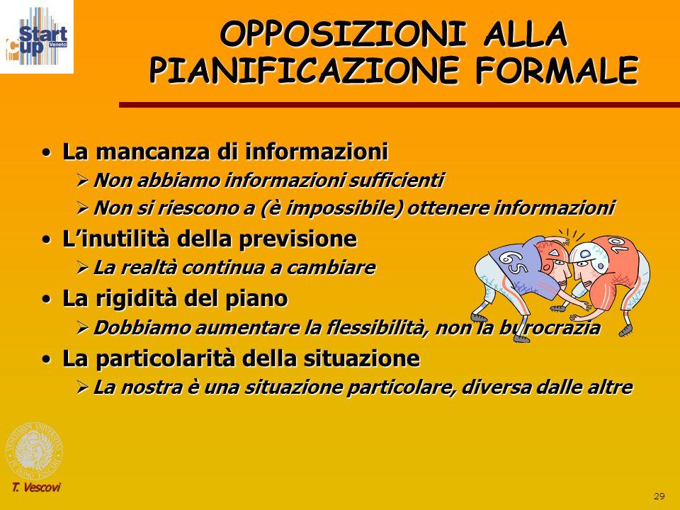 29 T. Vescovi OPPOSIZIONI ALLA PIANIFICAZIONE FORMALE La mancanza di informazioniLa mancanza di informazioni  Non abbiamo informazioni sufficienti 